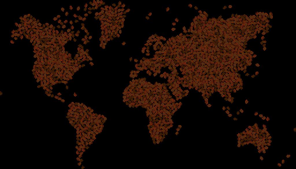 mapa hecho de café